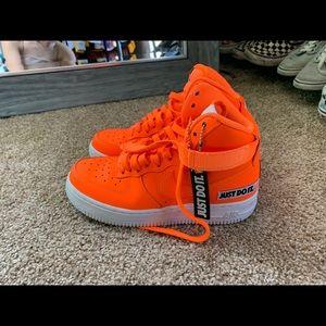 Orange high top AF1s